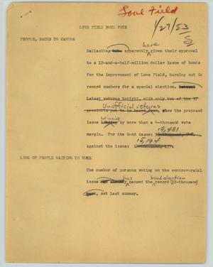Primary view of object titled '[News Script: Love Field bond vote]'.