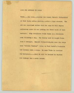 Primary view of object titled '[News Script: Lion cub returned to owner]'.
