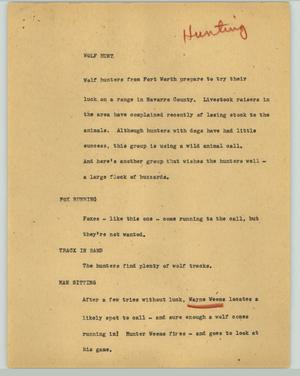 Primary view of object titled '[News Script: Wolf hunt]'.