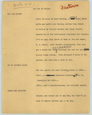 Primary view of object titled '[News Script: Old Car in Dallas]'.