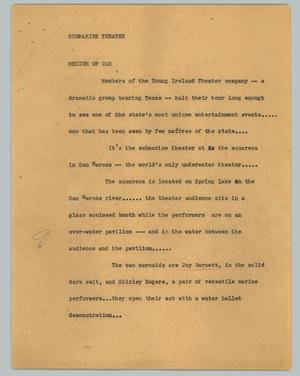 Primary view of object titled '[News Script: Submarine theater]'.