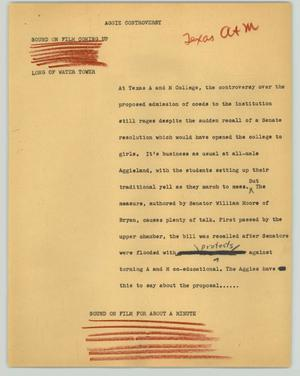 Primary view of object titled '[News Script: Aggie controversy]'.