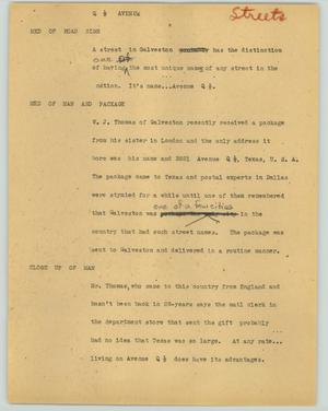 Primary view of object titled '[News Script: Q 1/2 avenue]'.