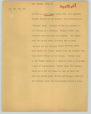 Primary view of object titled '[News Script: The Doaker signs up]'.