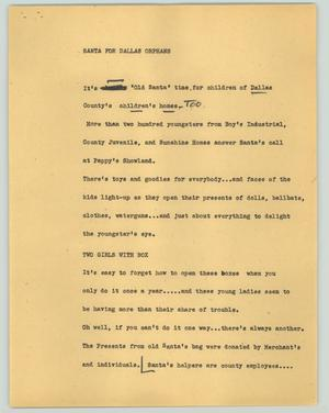 Primary view of object titled '[News Script: Santa for Dallas orphans]'.