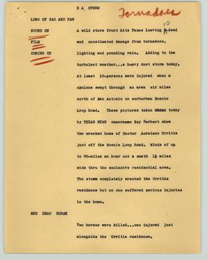 Primary view of object titled '[News Script: S A storm]'.