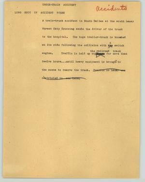 Primary view of object titled '[News Script: Truck-train accident]'.