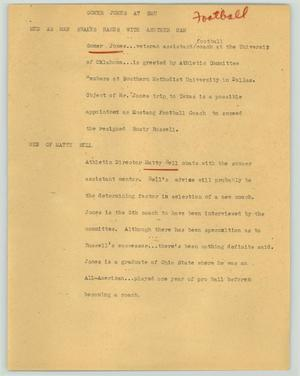 Primary view of object titled '[News Script: Gomer Jones at SMU]'.
