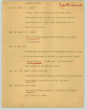 Primary view of object titled '[News Script: Athletic awards]'.