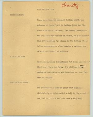 Primary view of object titled '[News Script: Furs for Holland]'.