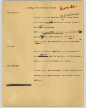 Primary view of object titled '[News Script: Dallas, Fort Worth men honored]'.