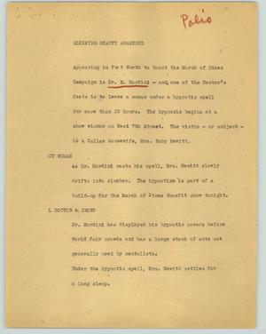 Primary view of object titled '[News Script: Sleeping beauty awakened]'.
