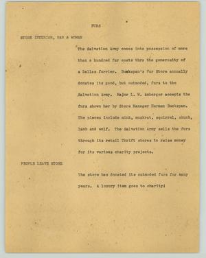 Primary view of object titled '[News Script: Furs]'.
