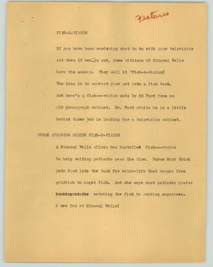 Primary view of object titled '[News Script: Fish-o-vision]'.