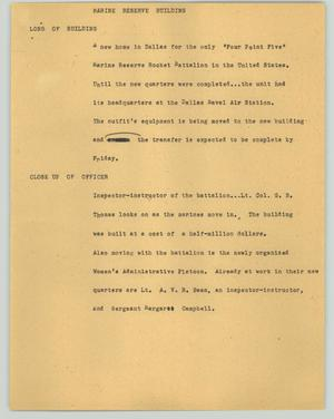 Primary view of object titled '[News Script: Marine reserve building]'.