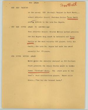 Primary view of object titled '[News Script: TCU award]'.
