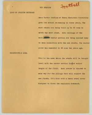 Primary view of object titled '[News Script: TCU stadium]'.