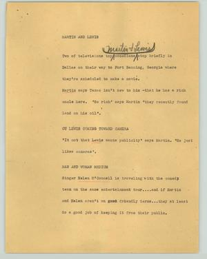 Primary view of object titled '[News Script: Martin and Lewis]'.