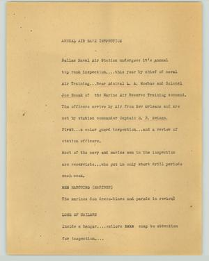 Primary view of object titled '[News Script: Annual air base inspection]'.