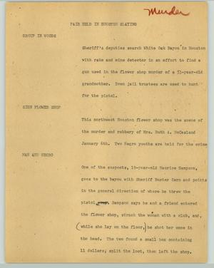 Primary view of object titled '[News Script: Pair held in Houston slaying]'.