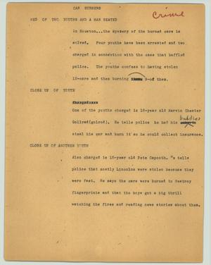 Primary view of object titled '[News Script: Car burners]'.