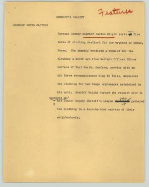 Primary view of object titled '[News Script: Sheriff's charity]'.