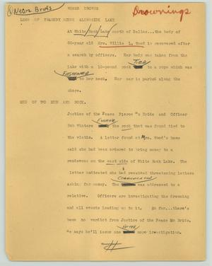 Primary view of object titled '[News Script: Woman drowns]'.