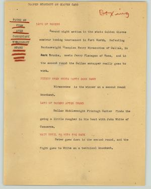 Primary view of object titled '[News Script: Cooper standout on gloves card]'.