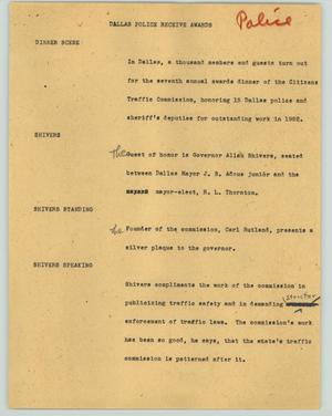 Primary view of object titled '[News Script: Dallas police receive awards]'.