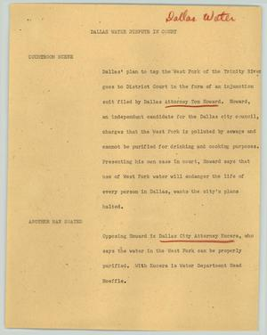 Primary view of object titled '[News Script: Dallas water dispute in court]'.