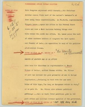Primary view of object titled '[News Script: Congressmen oppose Truman policies]'.