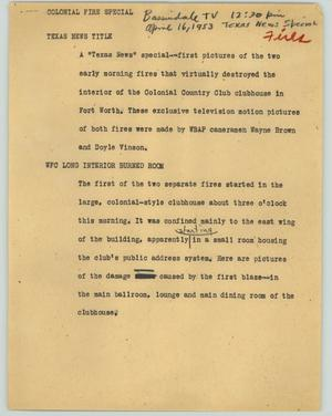 Primary view of object titled '[News Script: Colonial fire special]'.