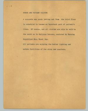 Primary view of object titled '[News Script: Nurse and patient walking]'.