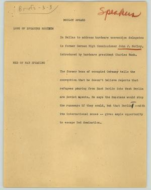 Primary view of object titled '[News Script: McCloy speaks]'.