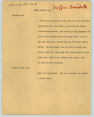 Primary view of object titled '[News Script: Negro wrecks car]'.