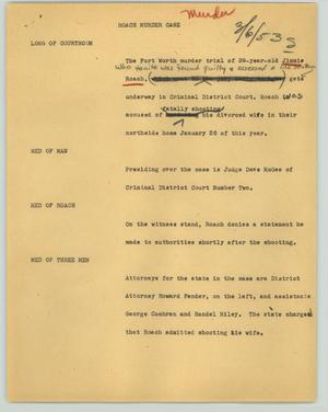 Primary view of object titled '[News Script: Roach murder case]'.