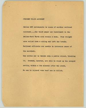 Primary view of object titled '[News Script: Freight train accident]'.