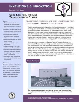 Primary view of object titled 'Coal log fuel pipeline transportation system: Invention and innovations project fact sheet'.