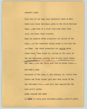 Primary view of object titled '[News Script: Orphan's party]'.