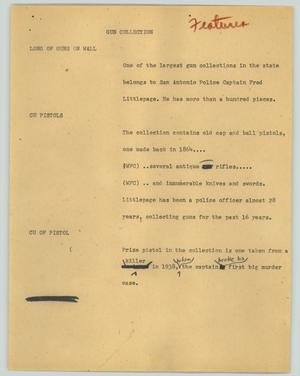 Primary view of object titled '[News Script: Gun collection]'.