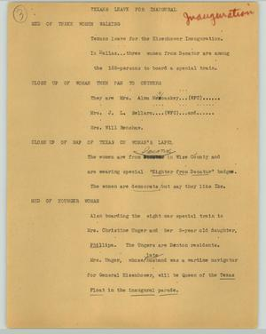 Primary view of object titled '[News Script: Texans leave for inaugural]'.