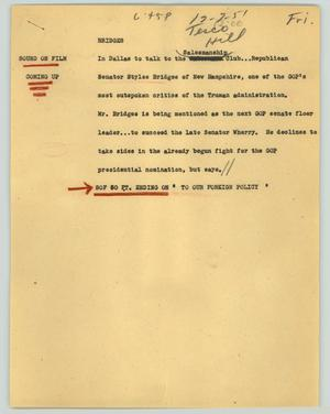 Primary view of object titled '[News Script: Bridges]'.