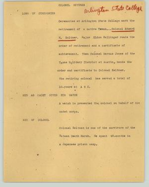 Primary view of object titled '[News Script: Colonel retires]'.