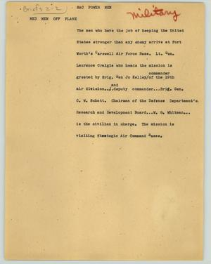 Primary view of object titled '[News Script: SAC power men]'.