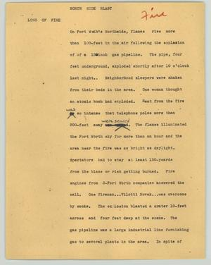 Primary view of object titled '[News Script: North side blast]'.