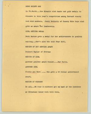 Primary view of object titled '[News Script: News briefs one]'.