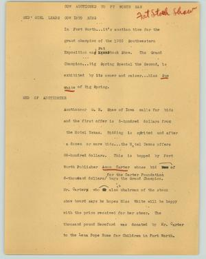 Primary view of object titled '[News Script: Cow auctioned to Ft. Worth man]'.