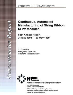 Primary view of object titled 'Continuous, automated manufacturing of string ribbon Si PV modules. PVMaT Phase 5A2 Subcontract: First Annual Report, 21 May 1998--20 May 1999'.