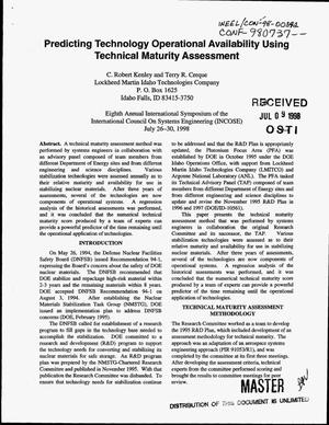 Primary view of object titled 'Predicting technology operational availability using technical maturity assessment'.