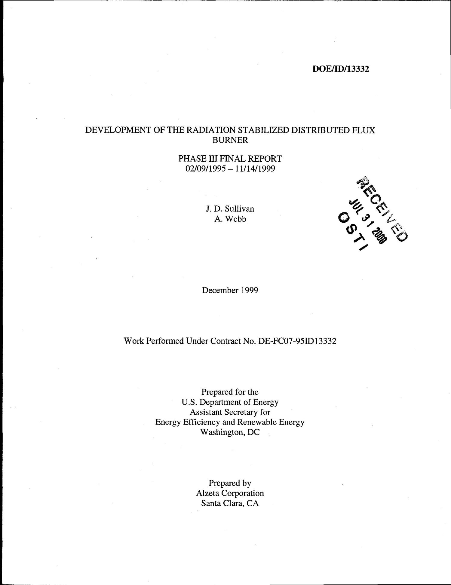 Development of the Radiation Stabilized Distributed Flux Burner - Phase III Final Report                                                                                                      [Sequence #]: 2 of 178